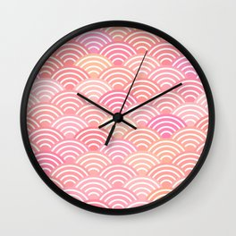 dragon fish scales simple pattern Nature background with japanese wave Wall Clock
