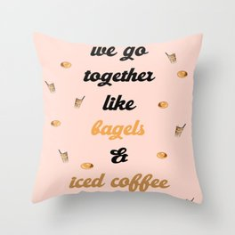 Bagels and Iced Coffee Throw Pillow