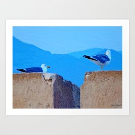 Once upon a time 2 seagulls (Oil painting) Art Print