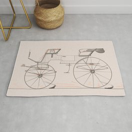 Design for 2 seat Phaeton no.3035a 1874 Brewster Co // Retro Drawing Vehicle Transportation Rug