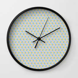 Yellow Sky Blue Cube Pattern Wall Clock