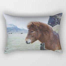 Brown Horse in Iceland Rectangular Pillow