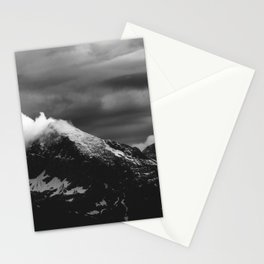 White clouds over the dark mountains Stationery Cards