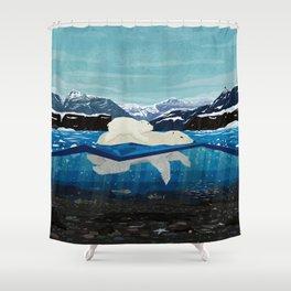 Polar bear mom and Cub Swimming  Shower Curtain