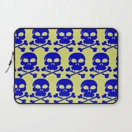 Skull Crazy- blue on green Laptop Sleeve