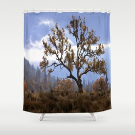 Early morning fog in the valley Shower Curtain