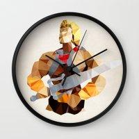 he man Wall Clocks featuring Polygon Heroes - He-Man by PolygonHeroes