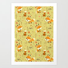 Foxes in the Spring Art Print
