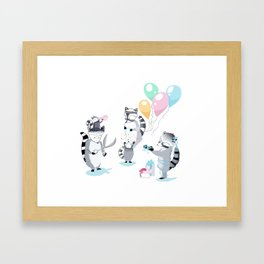 Raccoons planning party Framed Art Print