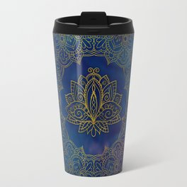 Elegant  Gold Lotus flower on blue Travel Mug