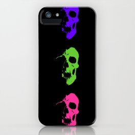Skull 3x3 - Lime/Purple/Pink iPhone Case