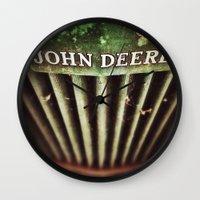john green Wall Clocks featuring John Deere by Justin Alan Casey