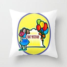 Bat Mitzvah party girl  Throw Pillow