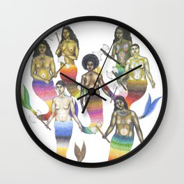 mermaids holding axes Wall Clock