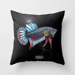Wild Betta Splendens Throw Pillow