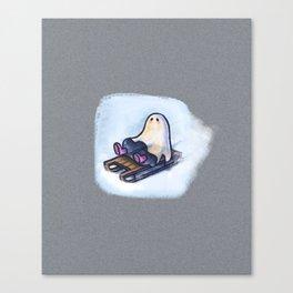 SLEDGING GHOSTIE Canvas Print