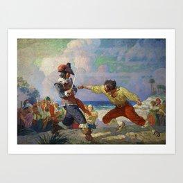 """The Duel on the Beach"" by NC Wyeth Art Print"