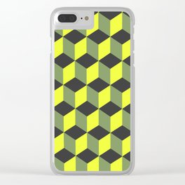 Diamond Repeating Pattern In Yellow Black Grey Clear iPhone Case