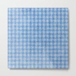 Nappy Faux Velvet Gingham in Powder Blue Metal Print
