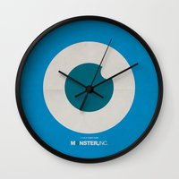 monster inc Wall Clocks featuring Monster, Inc. - Blue (Vintage) by Lemontrend Studio