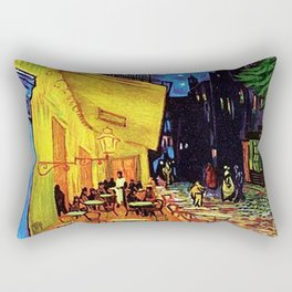 Café Terrace at Night Painting by Vincent van Gogh Rectangular Pillow