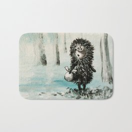 Hedgehog in the fog Bath Mat