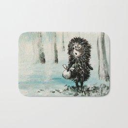 Hedgehog in the fog Bath Mat