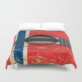 Old Vintage Acoustic Guitar with Norwegian Flag Duvet Cover