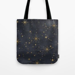 Gold Stars Black Ink Night Sky Magical Mid Century Pattern Tote Bag