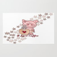 piglet Area & Throw Rugs featuring Piglet Loves Coffee by DMiller