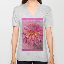 Mixed Media Flower Unisex V-Neck