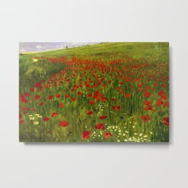 Alpine Meadow with Red Poppies floral landscape portrait painting by Pál Szinyei Merse Metal Print