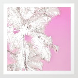 High palms in pink Art Print