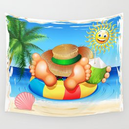 Summer Relax on the Sea Wall Tapestry