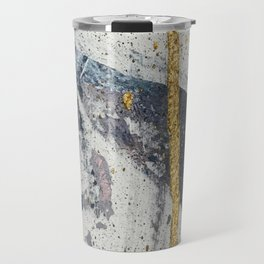 Synergy: a minimal, abstract mixed-media piece in gold, blue, and purple by Alyssa Hamilton Art Travel Mug
