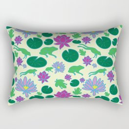Jumping Frogs of Lily Pad Valley Rectangular Pillow
