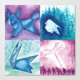 Fox, Bird, Rabbit and Dragonfly Canvas Print