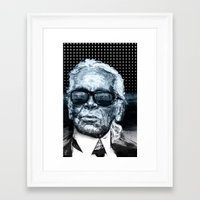 karl lagerfeld Framed Art Prints featuring Karl Lagerfeld by michael pfister
