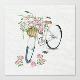 Vintage White Bicycle with English Roses on Paper Background Canvas Print