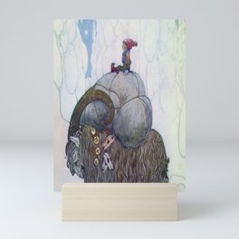Jullbocken The Yule Goat Being Ridden By A Child  Mini Art Print