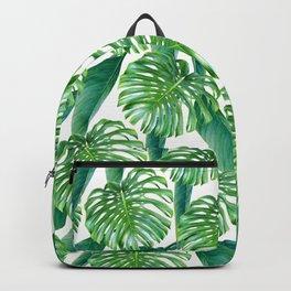 Green tropical leaves V Backpack