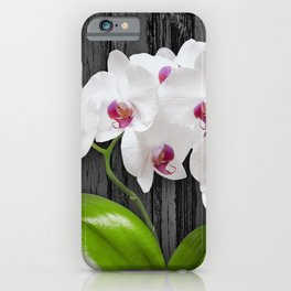 White Orchids On Wood Bark iPhone Case