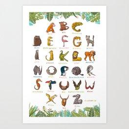 Wildlife-ABC with jungle leaves Art Print
