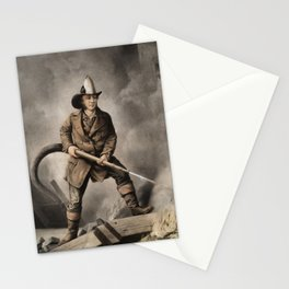 The American Fireman - Facing the Enemy - 1858 Stationery Cards