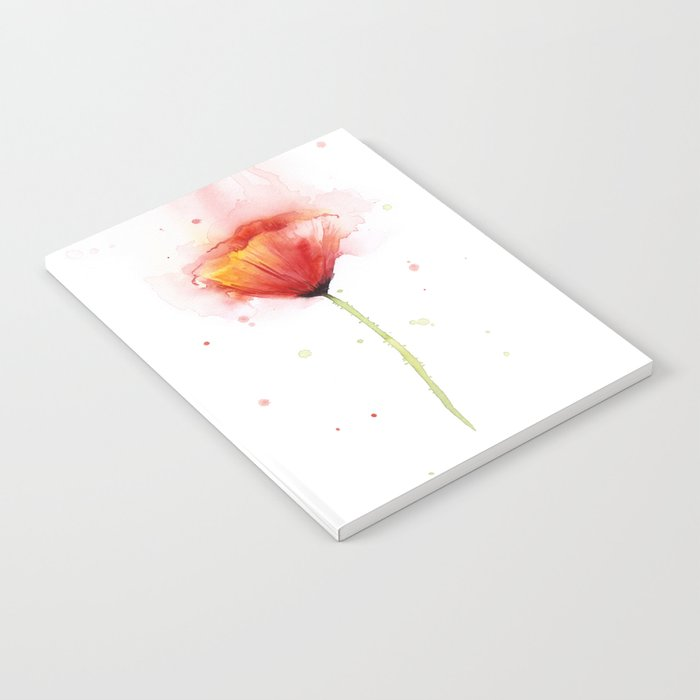 Red Poppy Flower Watercolor Abstract Poppies Floral Notebook