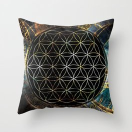 Flower of Life and Zodiac in Cosmic Space Throw Pillow