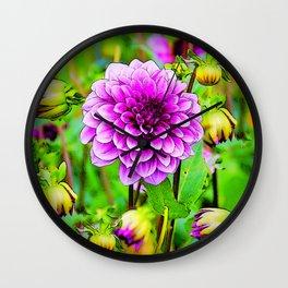 LILAC PURPLE DAHLIA FLOWERS & BUDS Wall Clock