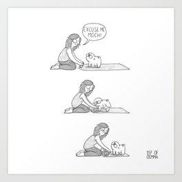 Mochi the pug on yoga mat Art Print