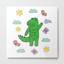 Baby Kids Crocodile I Toddler Crocodile Motif Metal Print