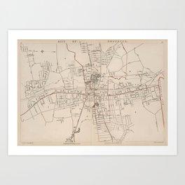 Vintage Map of Brockton MA (1891) Art Print